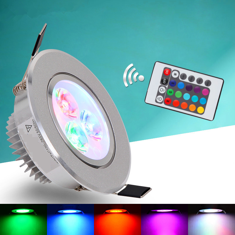 LED Ceiling Lamp 9W Down Lights RGB With Remote Recessed Light Bulbs AC220V 3W Downlight Birthday Party Colorful Lights