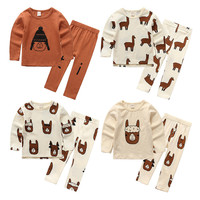 Tiny Cottons 2017 New Autumn Children S Set Animal Alpaca Print Boys Girls Sleep Sets Baby