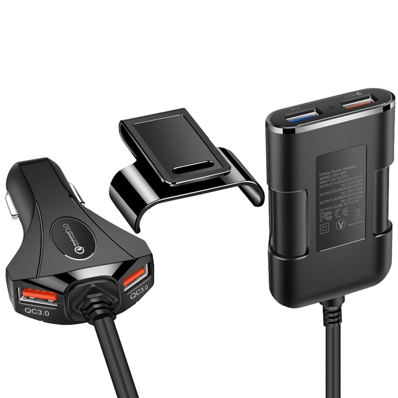 USB 12V DC Car Charger Adaptor for Mobile SmartPhone 4Port USB Charger White