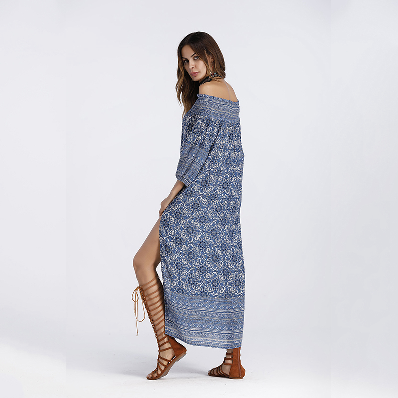 Lyprerazy Off Shoulder Dress Autumn Asymmetrical Split Front Maxi ... 5faf0190833b