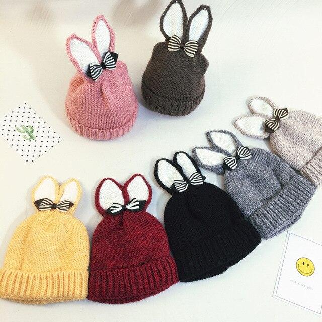 En gros Enfants chapeau oreilles De Lapin bowknot bonnet Tricoté Automne hiver  laine Bébé chapeaux de e27fe72e424