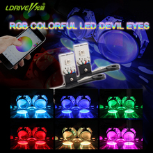 2PC High grade 6colors RGB LED angel eyes APP control Demon LED Halo Rings Devil Eye for Car Headlights Projector lens Universal