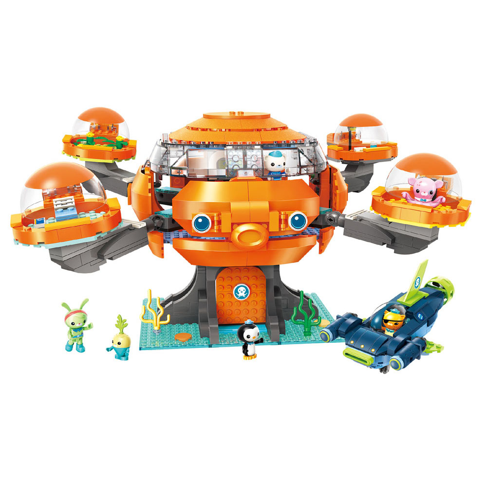 Enlighten Building Block Octonauts Octo-Pod Octopod Playset CUP-Q Hammerhead Shark Vehicle & Barnacles 921pcs Educational Bricks