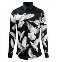 2017 New Men Fancy Shirts Fashion Design 3D Flying Pigeons Print Shirt Clothing Casual Cotton Slim