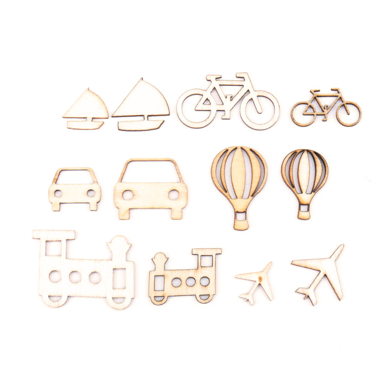 Transportation Series Pattern Natural Wooden Scrapbooking Craft For Handmade Accessory Decorate Home DIY 20-40mm 24pcs