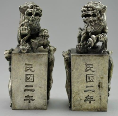 Chinese fengshui White Copper Evil Animal Fu Foo Dog Lion Pair Seal Statue
