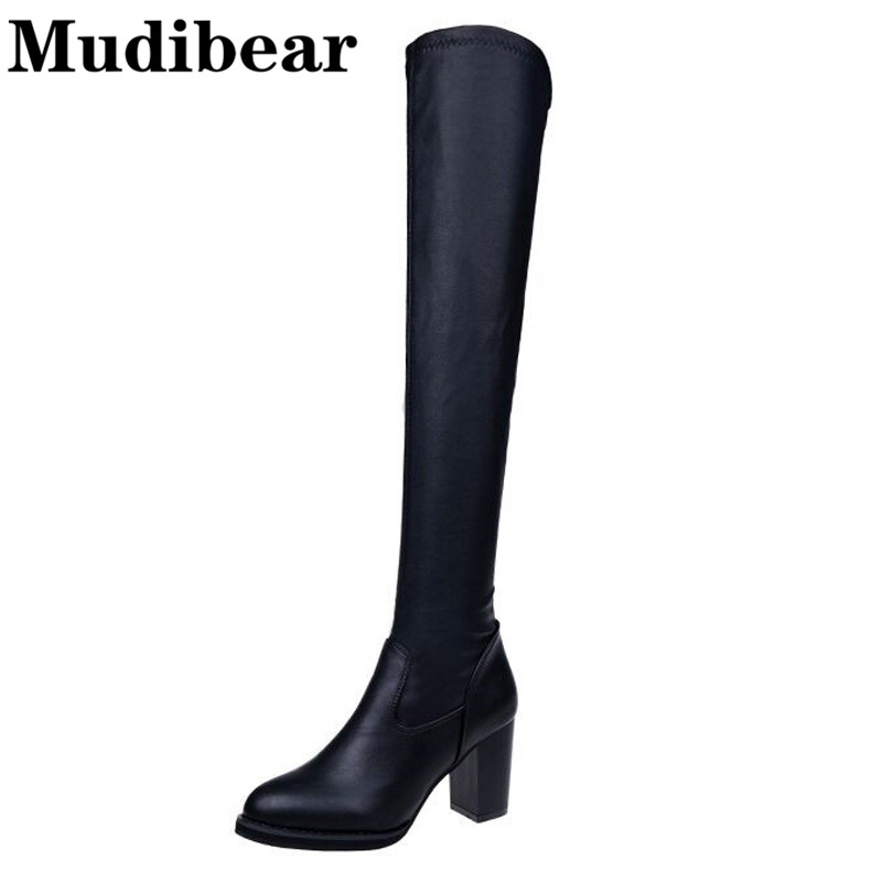 Mudibear Women's Boots Sexy over the knee high women snow boots women's fashion winter thigh high boots shoes woman Black shoes 2017 sexy thick bottom women s over the knee snow boots leather fashion ladies winter flats shoes woman thigh high long boots