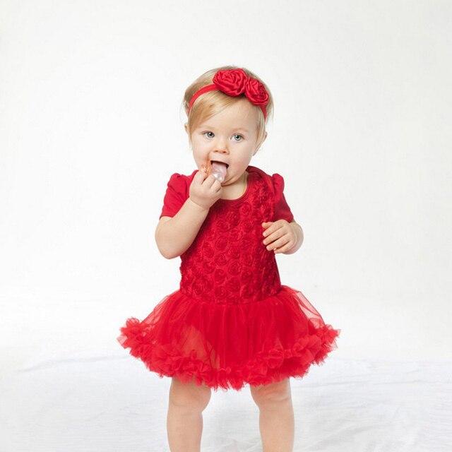 Детские девушки Юбки Одежда День Рождения С Коротким Рукавом Роуз Принцесса Новорожденный Ребенок Набор Bebe Одежда Для 0-2Y