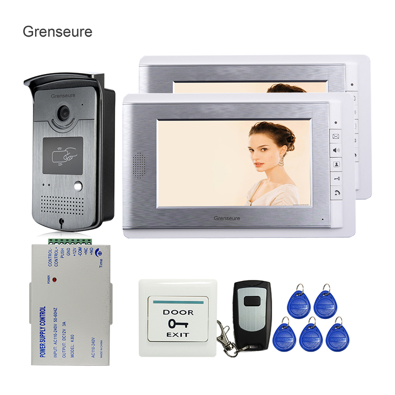 FREE SHIPPING Brand New Wired 7 inch Video Door Phone Intercom System 2 Monitors + RFID Access Camera + Remote Control In Stock jeruan home 7 video door phone intercom system kit rfid waterproof touch key password keypad camera remote control in stock