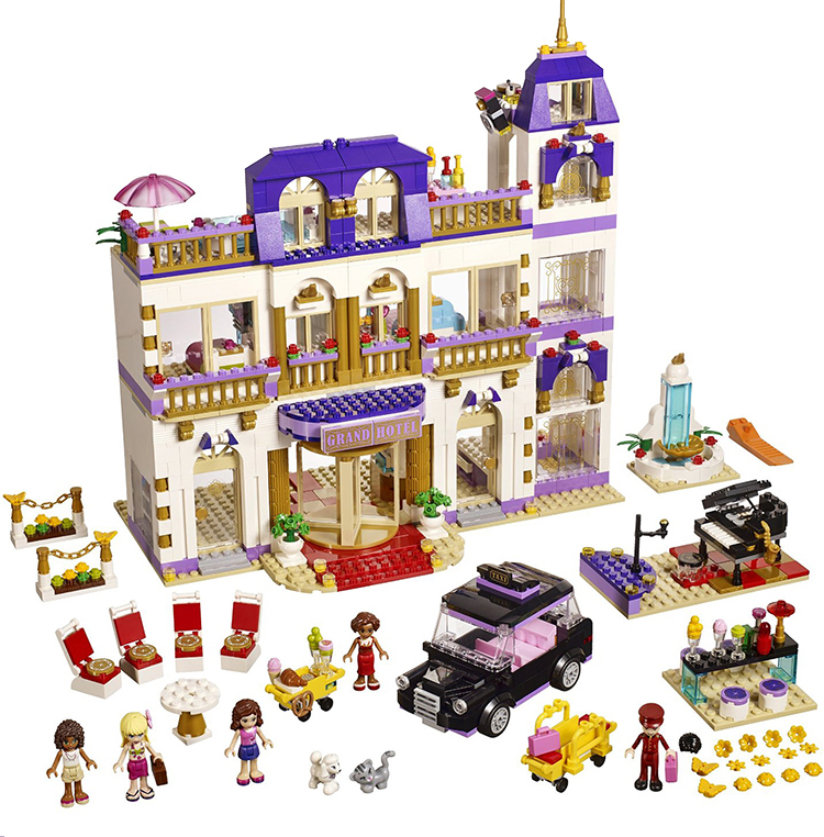 2017 Girl Series Heart Lake City Hotel Girl Friends Building Blocks Mini Bricks Toys Compatible with LEPIN 218 decool lepin 02012 city deepwater exploration vessel 60095 building blocks policeman toys children compatible with lego gift kid sets