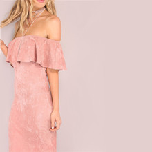 Elegant Sexy club Pink  Faux Suede backless off shoulder dress pleated woman party dresses
