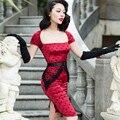 Le palais de la vendimia delgada dress elegante seda del faux borla rayón toque tejido de Punto Negro de Cuello Cuadrado Corto Manga 50 s Pin Up de La Vendimia