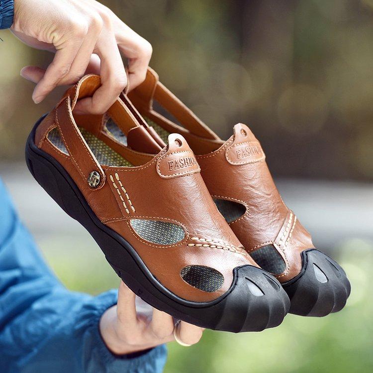 Plage En Noir Plein Confortable kaki Chaussures 2019 Sandales Mâle marron D'été Pour Shose Air Masculina Cuir 46 Hommes Adulte Sandalia 38 0Uxdq