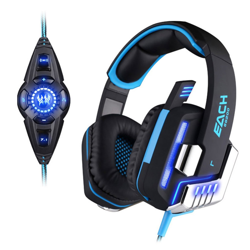 EACH G8200 Game Headphone Vibration 7.1 USB Surround Sound Gaming Headset Earphone casque with Mic LED Light for PC Gamer PS4 g1100 3 5mm pro gaming headset headphone for ps4 laptop crack pattern led led blue black red white