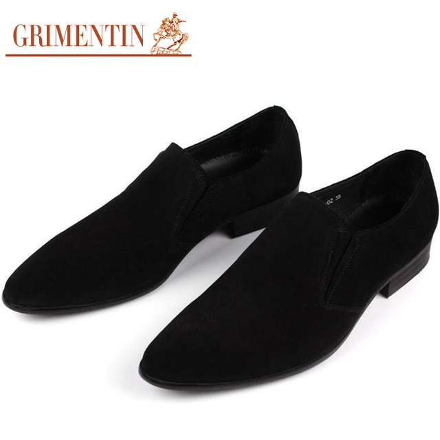 Men Suede Dress Shoes Genuine Leather Designer Black Blue