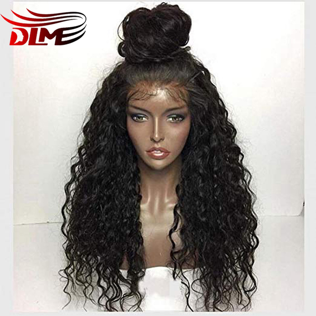 DLME African American Kinky Curly Wig 180%Density Synthetic Lace Front Wigs  With Baby Hair Heat Resistant Wigs for Black Women a3d9fdada