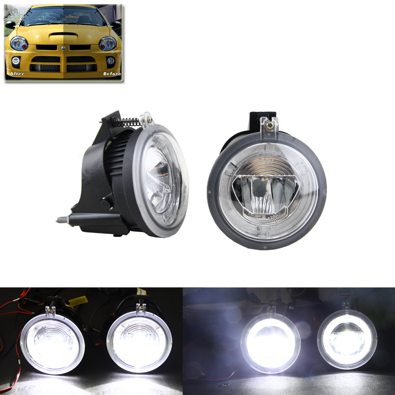 Direct Fit For Dodge Neon 2003 2004 2005 Auto Front Fog Light Assembly W/ Xenon White Guide DRL Halo Rings Lamp Kit Error Free 20pcs error free xenon white 14k gold interior led light kit for mercedes x164 gl amg with samsung 3030 led
