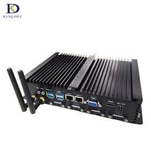 Zero noise Intel Celeron 1037U/i5 3317U CPU Industrial Fanless Mini PC Computer with Dual LAN HDMI 4*RS232