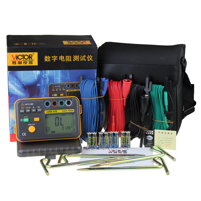 Ground Resistance Tester VC4106 Digital Earthing Instrument Lightning Detector 4-Pole Ground Resistance Measurement цена