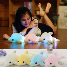 45cm Colorful Dolphin Plush Doll Toy Luminous Plush Stuffed Flashing Cushion Pillow With LED Light Party Birthday Gift