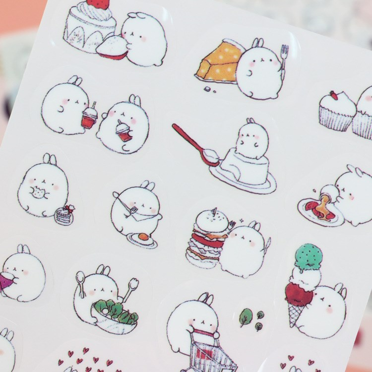 6 sheets DIY Colorful Rabbits kawaii Stickers Decoration PVC Planner Sticker Cartoon Staionery Post It Notebook Diary Stickers