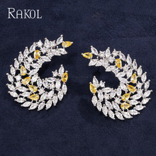 RAKOL Luxury Design Blue Yellow Color Cubic Zirconia Big Stud Earrings  For Weeding Women Girls White Gold Jewelry