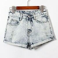 Kurze Jeans Frauen Casual Hellblau Farbe Curling Loch Hohe Taille Gewaschen Bündchen Kurze Denim Shorts Feminine