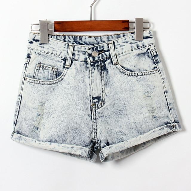 Short Jeans Women Casual Light Blue Color Curling Hole High Waist Washed Cuffs Short Denim Shorts Feminine