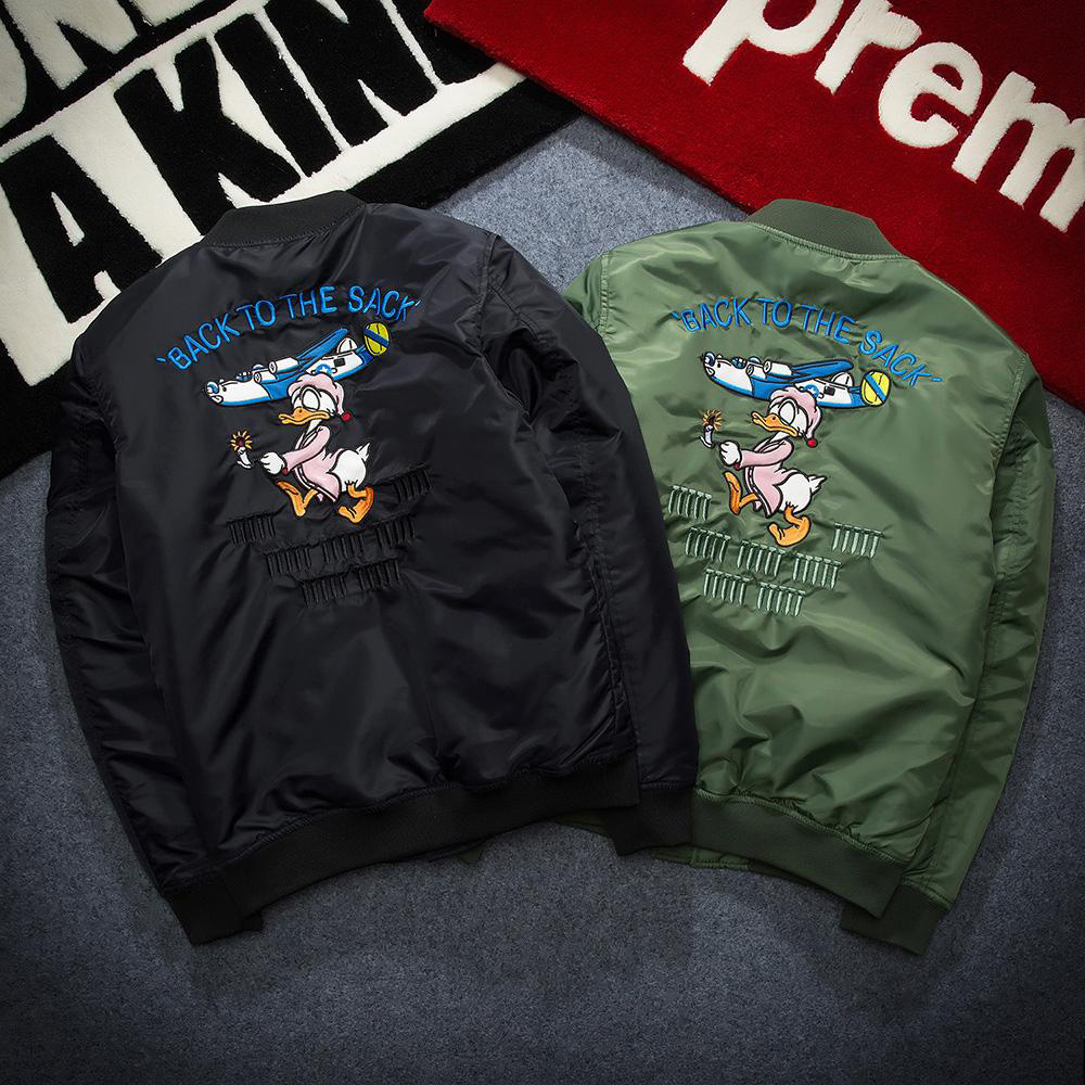 Air Force flight jacket new winter baseball uniform thick Donald Duck Embroidery cotton frock coat