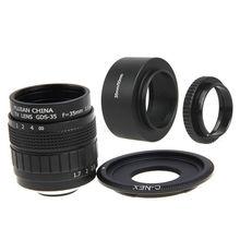Fujian 35mm F1.7 CCTV lente Filme + C-NEX MONTE + Capa de Lente + Macro Anel para sony e mount nex3 nex5 nex7 nex6 a6000 a6300 a6500 NEX5T