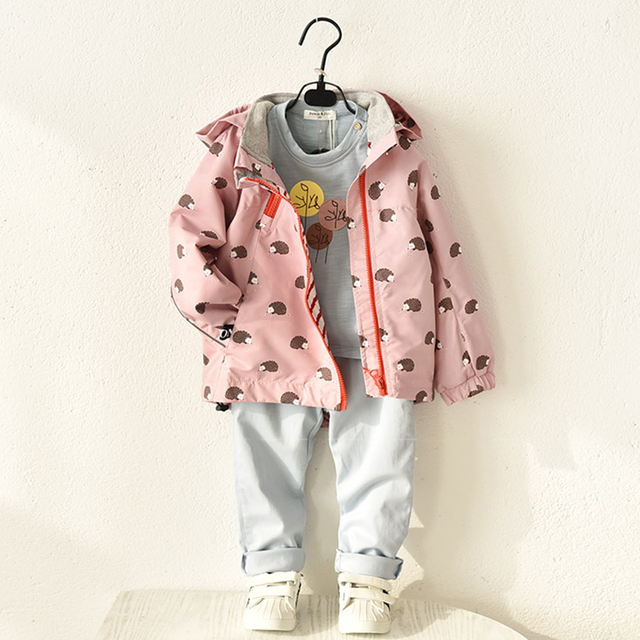 976b232a7 Jackets & Coats for girls Pink Kids Spring Autumn outerwear Trench coat  baby girl windbreaker Casual Clothing Hoodies Jacket