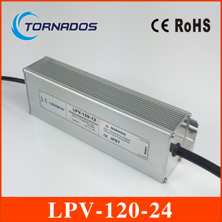 120W 24V 5A LED constant voltage waterproof switching power supply IP67 for led drive LPV-120-24 90w led driver dc40v 2 7a high power led driver for flood light street light ip65 constant current drive power supply