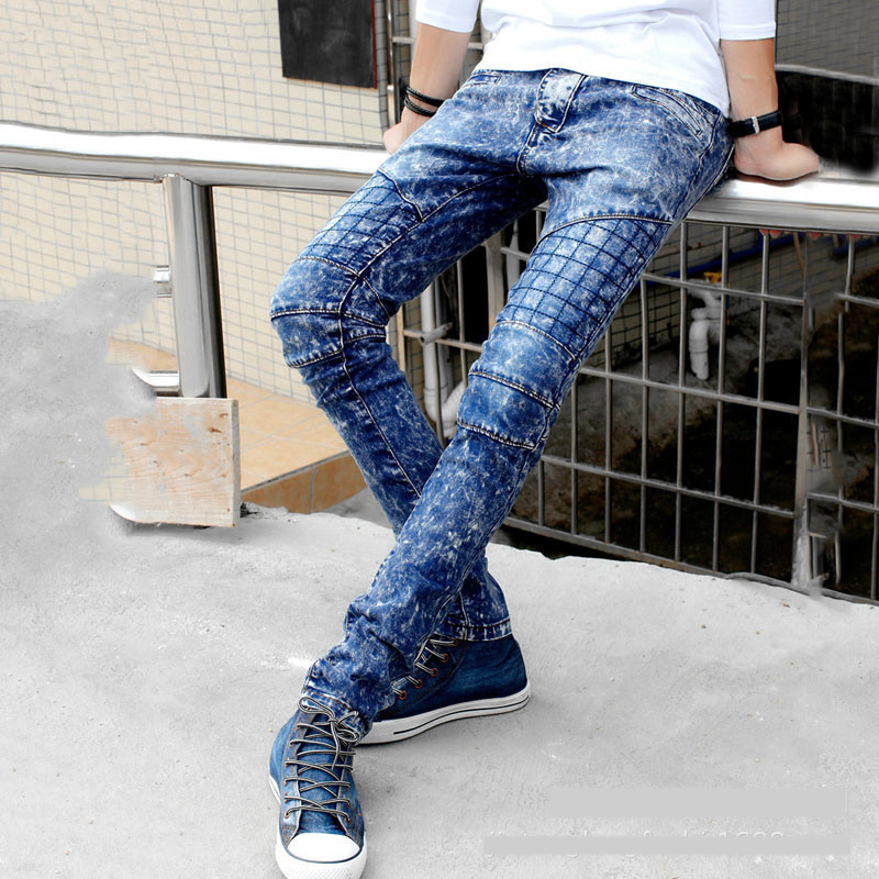 New Men`s Biker Jeans Stone Washed Faded Patchwork Super Skinny Cool Denim Pants For Young Men With Multi Pockets men s young men s jeans wholesale price
