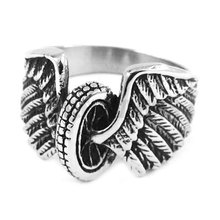 Wholesale Eagle Wings Motorcycles Tire Biker Ring Stainless Steel Jewelry New Design Fashion Motor Biker Men Ring SWR0313