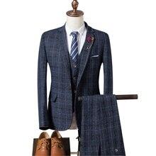 Для мужчин свадебные Клетчатый костюм 2018 Демисезонный Slim Fit Свадебные Мужской 3 предмета Бизнес Формальные женихов Для мужчин костюм (куртка + жилет + брюки)