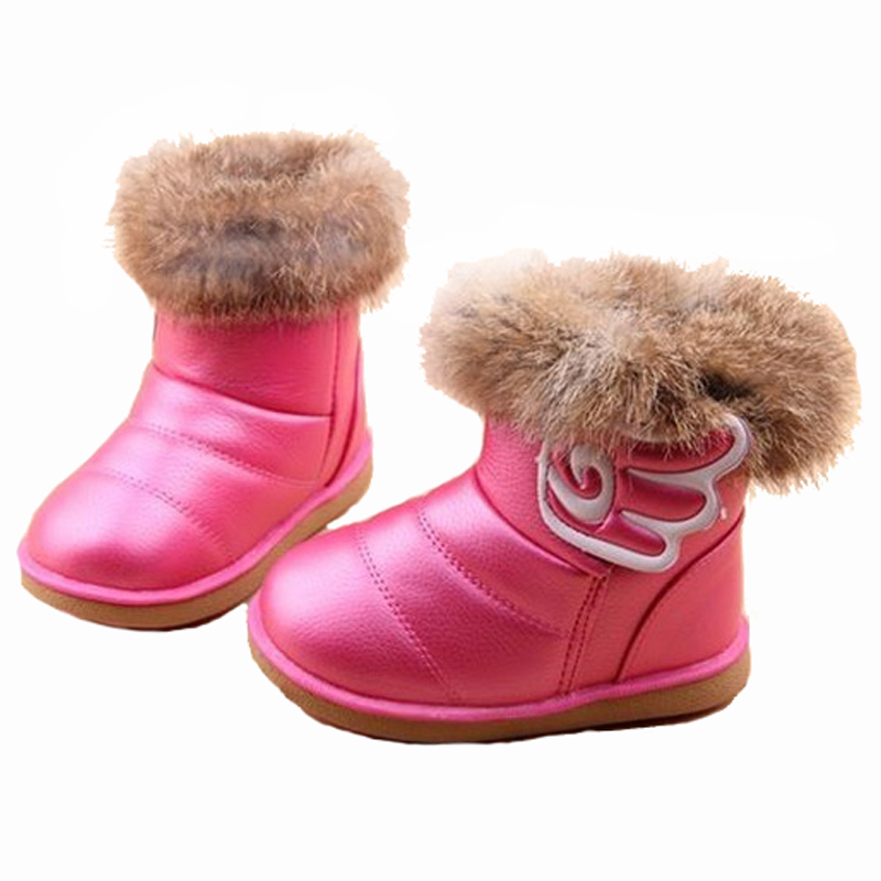 fe73fba7432f9 PU Leather Toddler Girl Snow Boots Warm Fur Children Winter Shoes For Girls  Chaussure Enfant Fille Bottines Stivali Ragazza