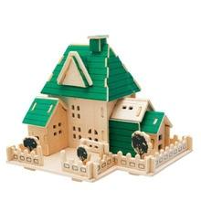 Puzzle 3d puzzle diy modelo de madeira crianças brinquedo casa de campo, construção de quebra-cabeças 3d, construção De Madeira Puzzles Brinquedos