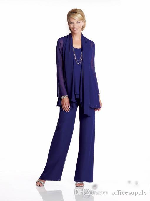 Hot Navy Blue Mother Of The Bride Pant Suit For Weddings