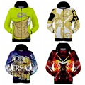 High-quality boy baseball clothing 3D personalized prints Hip-Hop Hooded zipper long-sleeved sweater 15-20 years old