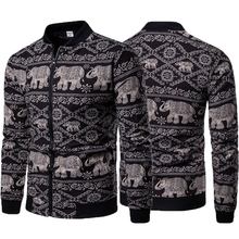 Mens ethnic style animal print jacket hip hop mens spring fashion thin coat streetwear our size S-XXL