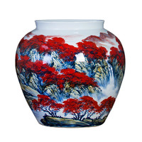 Цзиндэчжэнь мастер ручная роспись фарфора ваза для цветов для Офис комната отдыха Декор буйство цвета Керамика ваза