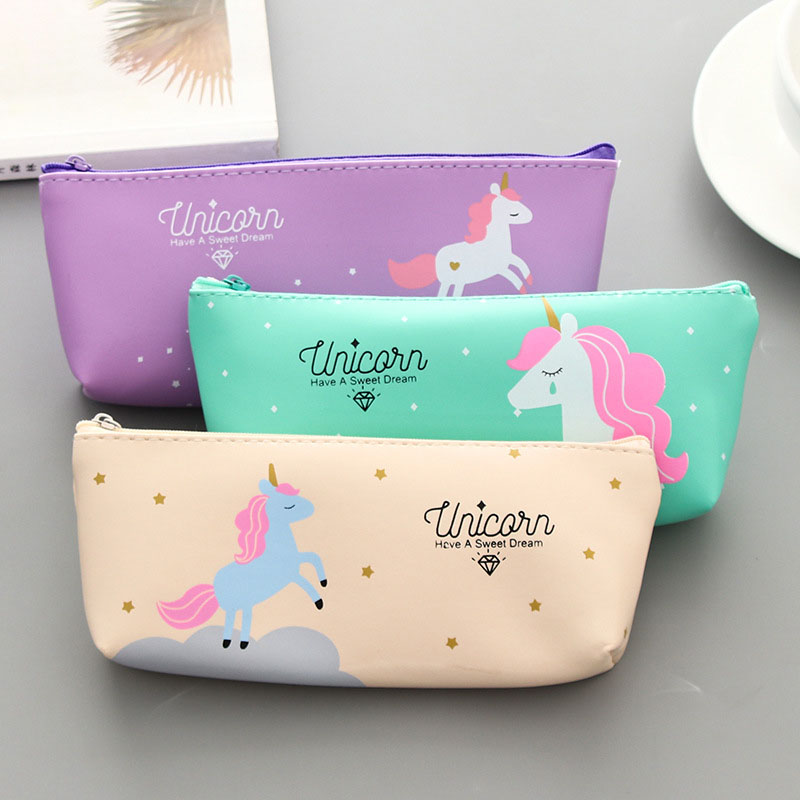 Novelty Unicorn Pencil Cases For Girls Kawaii Flamingo Pencil Bags Pouch Pen Box Cute Bts Stationery Gift Office School Supplies
