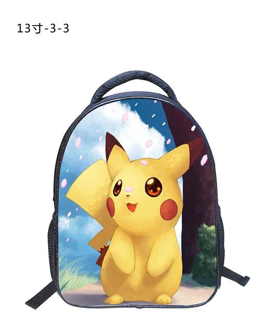 2016 Nueva 13 Pulgadas Mochila de Dibujos Animados Pokemon Pikachu Hombro Mochila Impresión Mochilas escolares Para Los Niños Los Niños Mochila Infantil