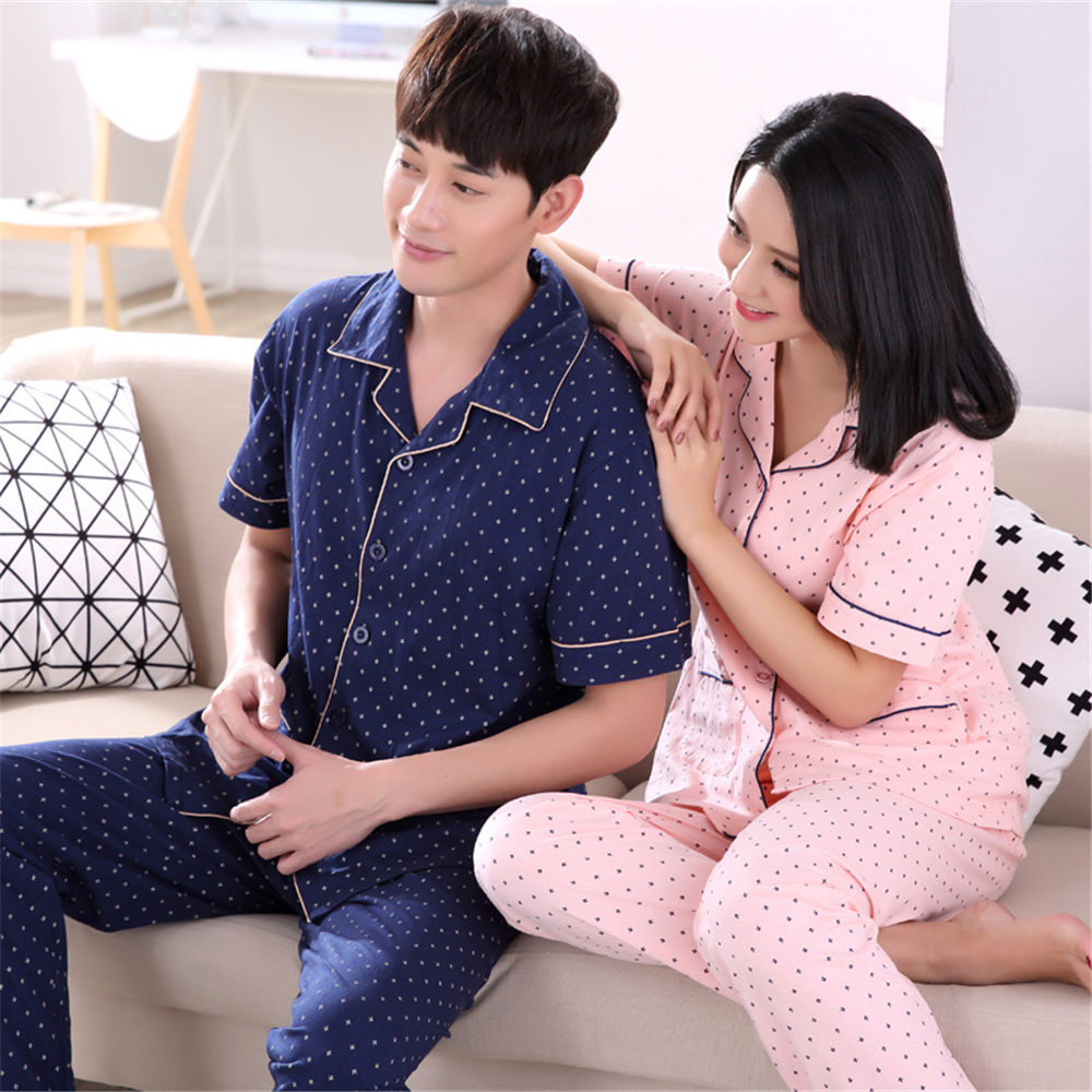 2017 summer new lovers pajamas cotton pajamas for men and women short sleeve cardigan all cotton