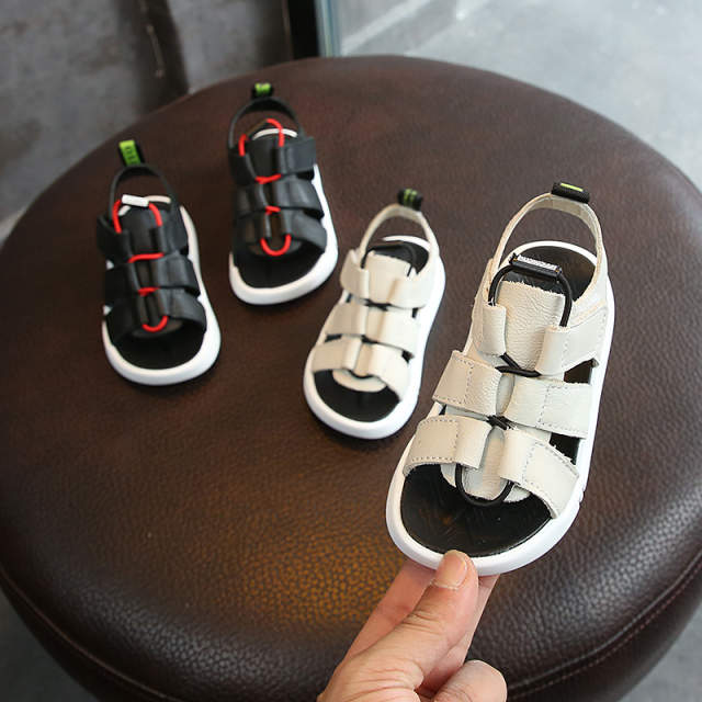 5554c1aa0 Online Shop 2019 New Children s Sandals Boys Baotou Soft Bottom Korean  Summer 1-3 year-old Anti-skid Fashion genuine leather Beach shoes