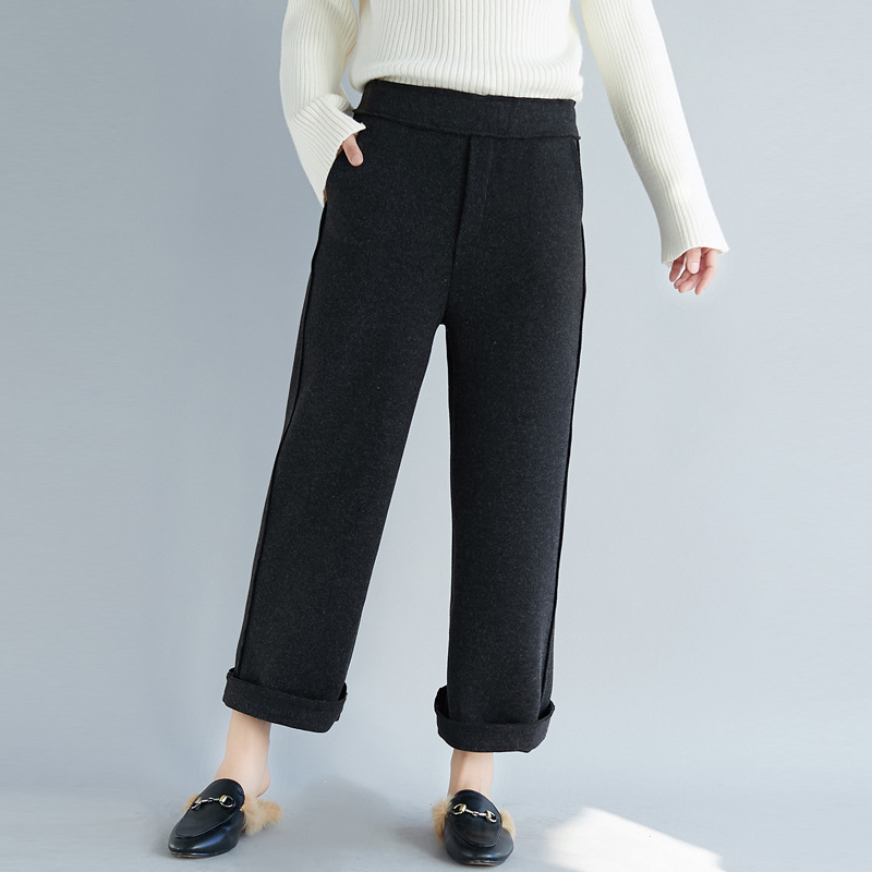 Johnature 2019 New Elastic Waist Casual Loose Trousers Winter Spring Solid Color Pockets 3 Colors Women   Wide     Leg     Pants