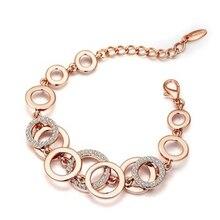 3pcs/lots Geometric metal Circles Bracelet For Women Rhinestones Paved Double Layer Round Female Wedding Jewelry 3Colors B-447