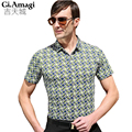 Mens Slim Fit Casual Dress Shirts Square printing 2015 Men's Fashion Brand Camisa Masculina Short Sleeve Blouse Shirts Men