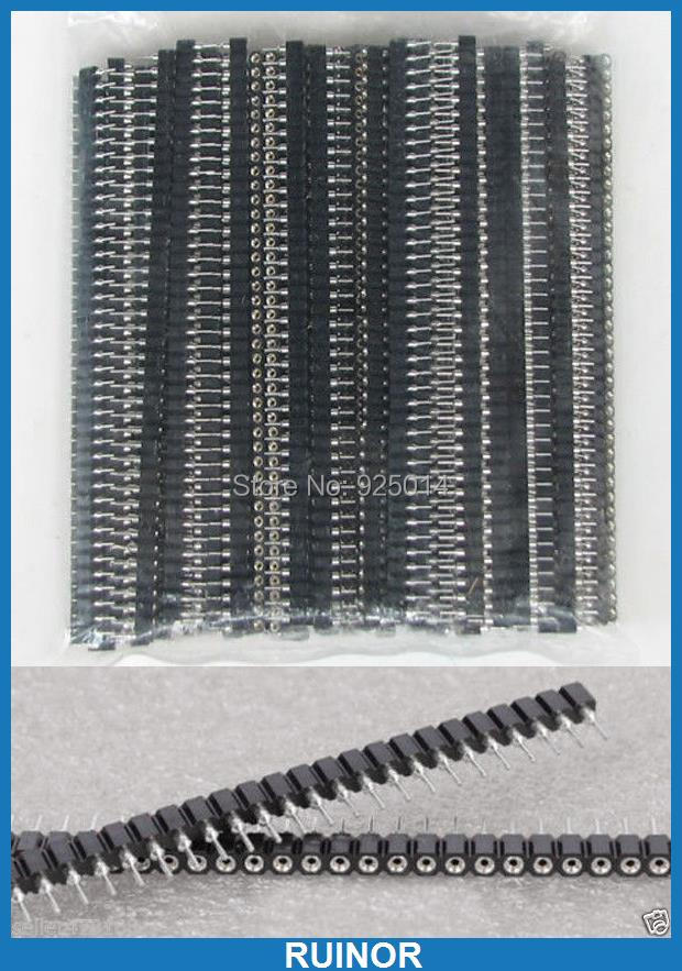 ФОТО 100pcs 1x40 Pin 2.54mm Single Row Round Female jack Header for Programmer IC PCB