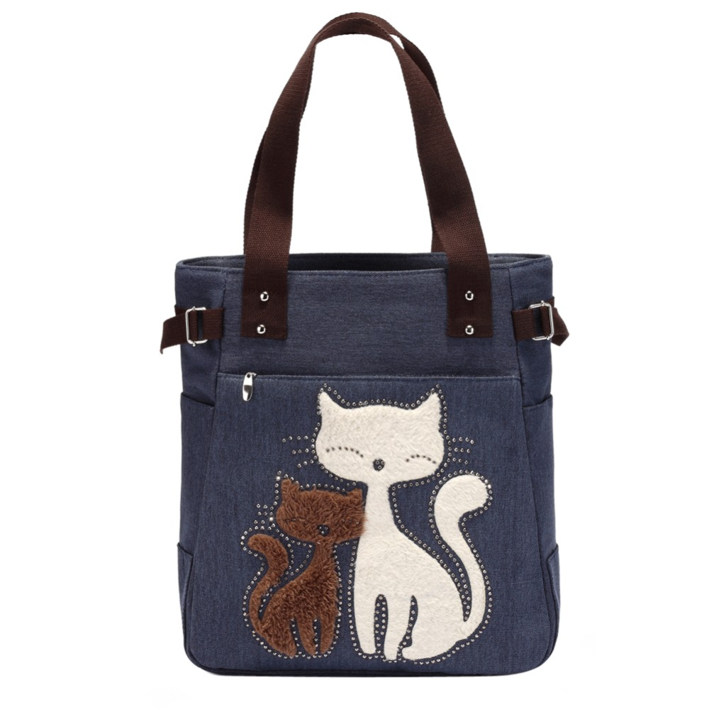 Lovely Cute Cat Canvas Handväska för Girls Ladies Stor Kapacitet Casual Bag Women Portable Solid Zipper Axelväska Bolsos Mujer